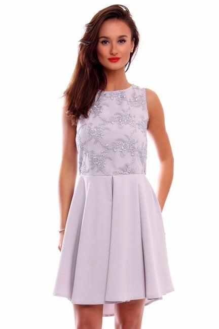 Sukienka koronka dłuższy tył CM519 szara