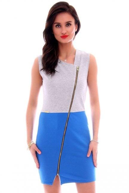 Sukienka dresowa z suwakiem CM113 niebieska