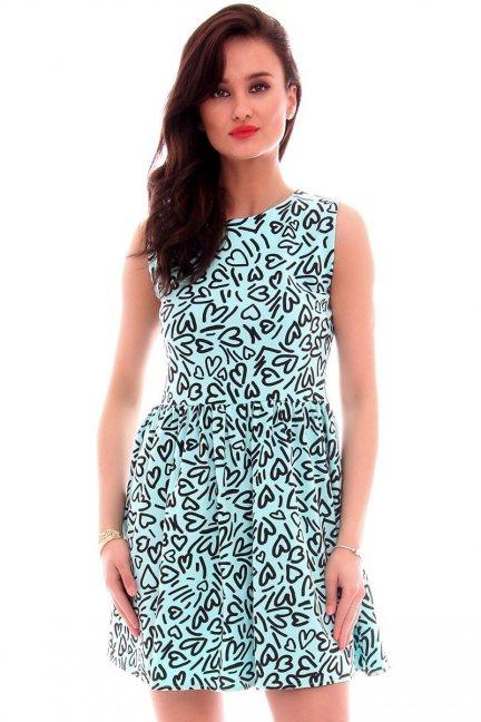 Sukienka bawełniana w serca CM300 miętowa