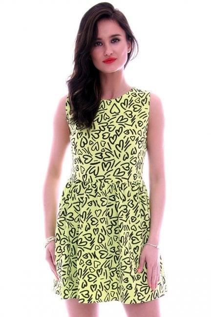Sukienka bawełniana w serca CM300 seledynowa
