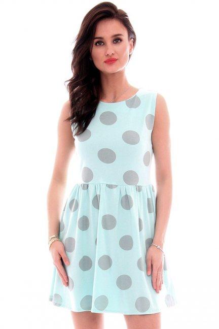 Sukienka bawełniana grochy CM300 miętowa