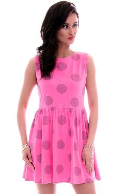 Sukienka bawełniana grochy CM300 różowa