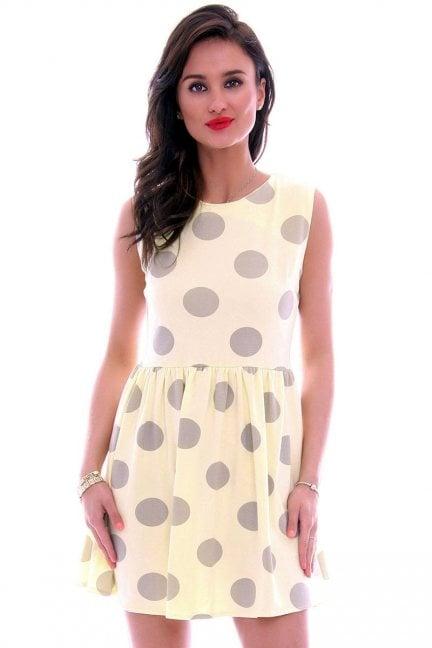 Sukienka bawełniana grochy CM300 żółta