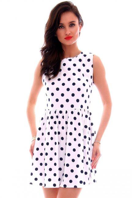 Sukienka bawełniana groszki CM300 biała