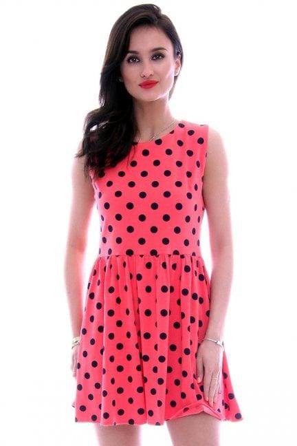 Sukienka bawełniana groszki CM300 czerwona