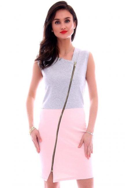 Sukienka dresowa z suwakiem CM113 różowa
