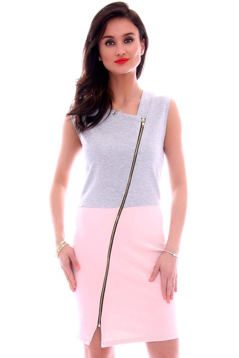 379398d556 Sukienka dresowa z suwakiem CM113 różowa sukienki online CosmosModa