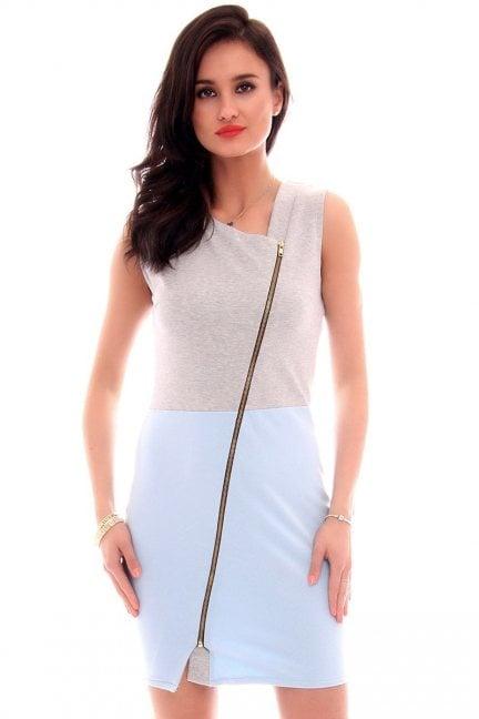 Sukienka dresowa z suwakiem CM113 błękitna