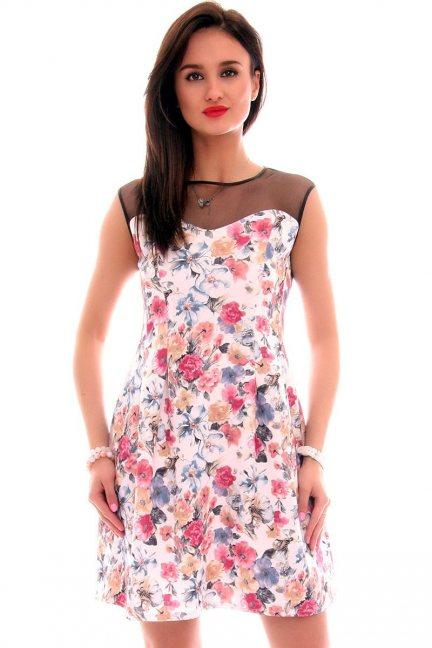 Sukienka rozkloszowana sexy CM099 biała