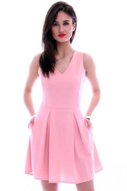 Sukienka elegancka gładka pudrowy róż