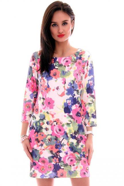 Sukienka tuba w kwiaty CM283 różowa