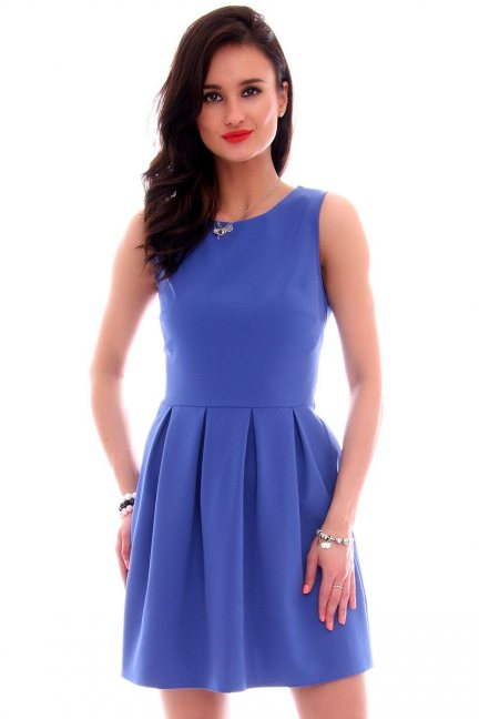 Sukienka z koła zakładki CMK617 niebieska