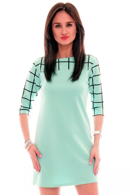 Sukienka trapezowa kratka CM105 miętowa