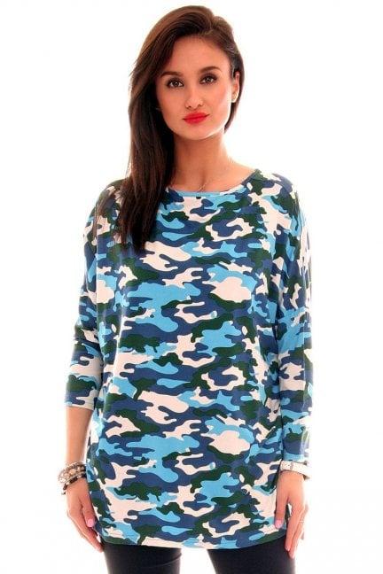 Bluzka bawełniana moro CM290 niebieska