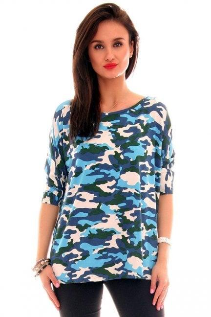 Bluzka bawełniana moro CM291 niebieska