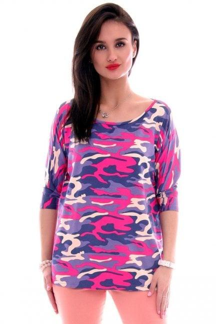 Bluzka bawełniana moro CM291 różowa