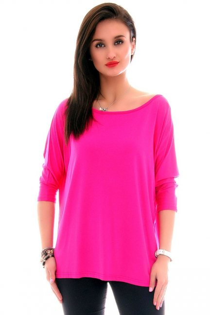 Bluzka oversize gładka CM291 różowa