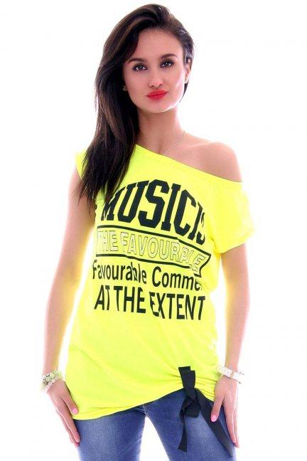 Bluzka damska napisy CM268-1 neonowa żółta