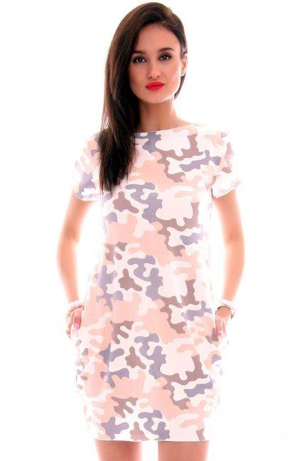 Sukienka bawełna moro CM298 pudrowy róż