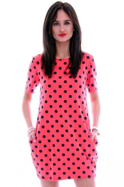 Sukienka w małe groszki CM298 czerwona