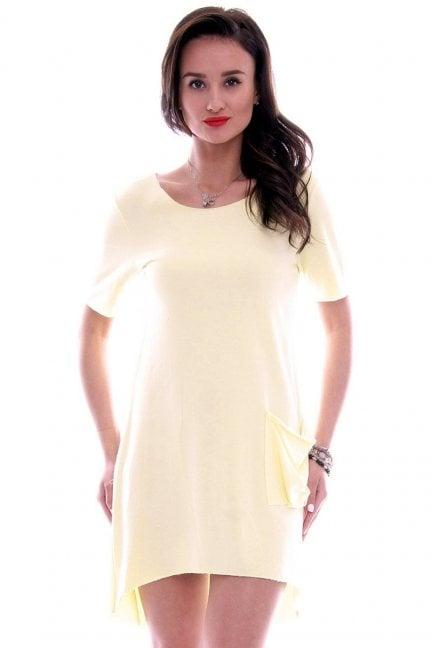 Sukienka z dużą kieszenią CM285 żółta