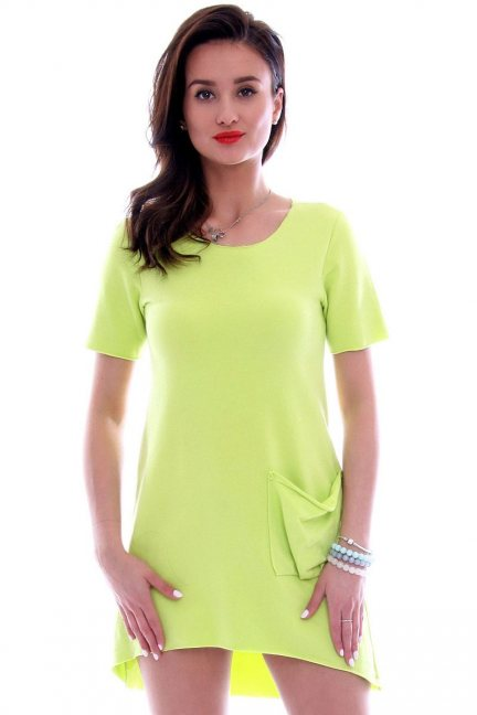 Sukienka z dużą kieszenią CM285 zielona