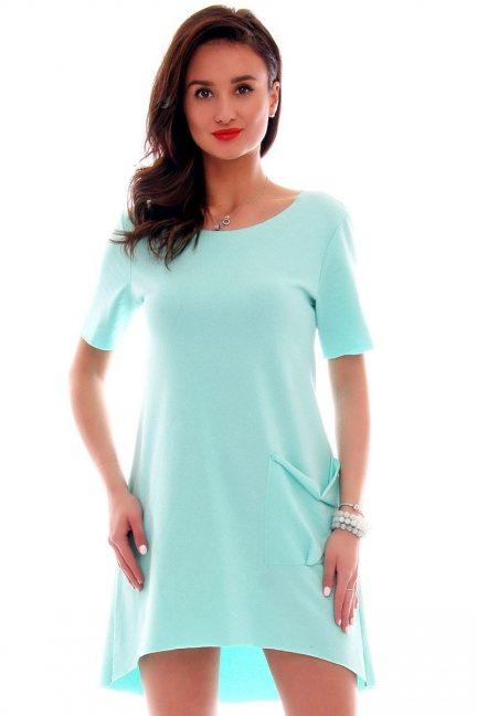 Sukienka z dużą kieszenią CM285 miętowa