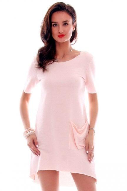 Sukienka z dużą kieszenią CM285 pudrowy róż