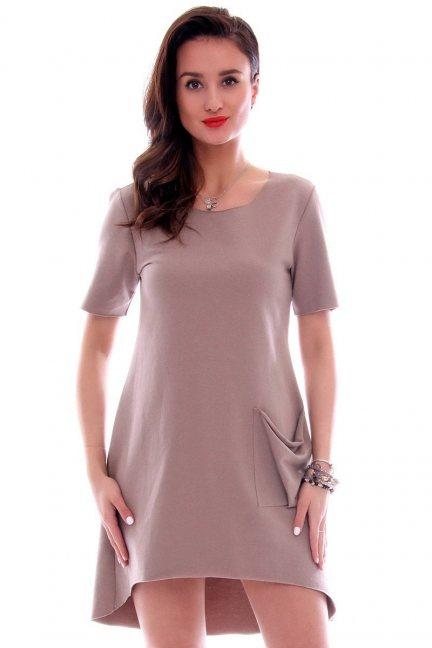 Sukienka z dużą kieszenią CM285 beżowa