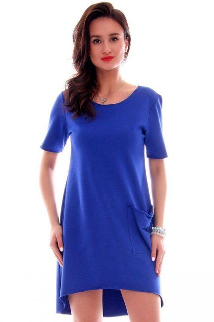 Sukienka z dużą kieszenią CM285 chabrowa