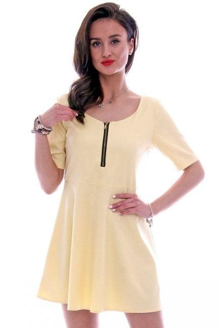 Sukienka z koła suwak gładka CM107 żółta