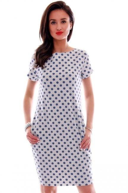 Sukienka dresowa w groszki CM094 szara