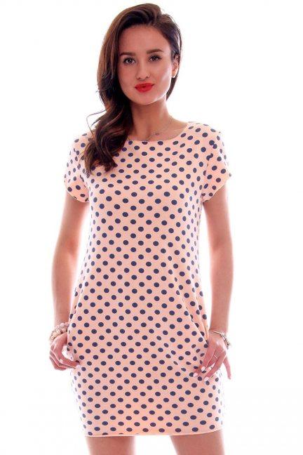 Sukienka dresowa w groszki CM094 morelowa