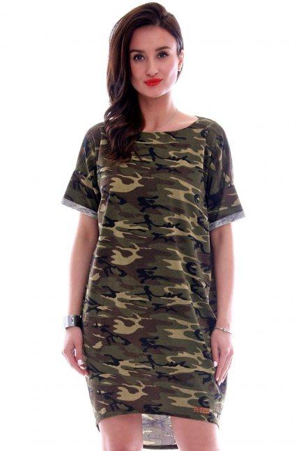 Sukienka asymetryczna moro CMK625 khaki