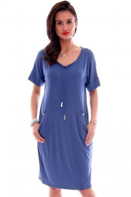 Sukienka z kieszeniami CMK626 niebieska