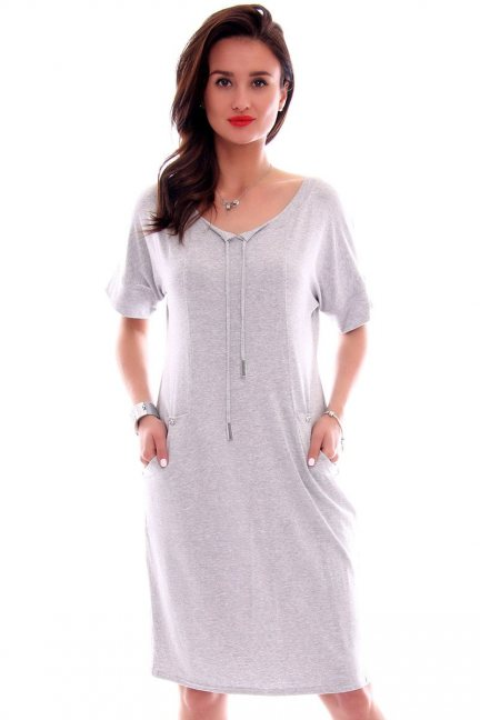 Sukienka z kieszeniami CMK626 szara
