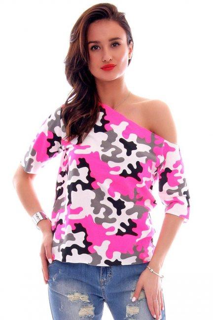 Bluzka bawełniana moro CM297 różowa