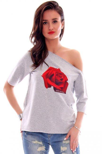 Bluzka bawełniana róża CM297 szara