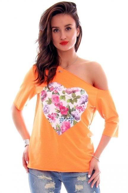 Bluzka asymetryczna serce CM297 neonowy pomarańczowy