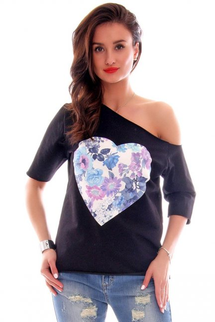 Bluzka asymetryczna serce CM297 czarna