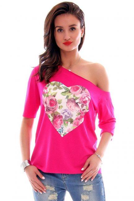 Bluzka asymetryczna serce CM297 różowa