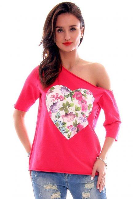 Bluzka asymetryczna serce CM297 czerwona