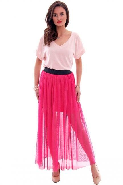 Spódnica tiulowa długa maxi CM307 różowa