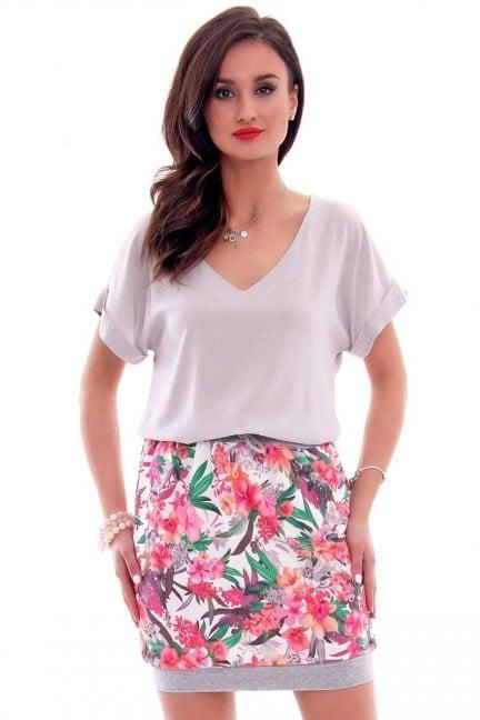 Spódnica dresowa w kwiaty CM299 różowa