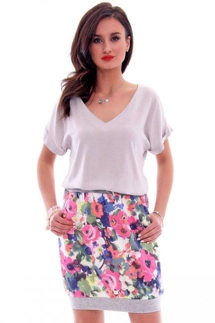 Spódnica dresowa w kwiaty CM299 jasno różowa