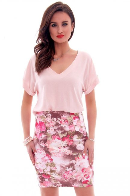 Spódnica ołówkowa kwiaty CM114 różowa