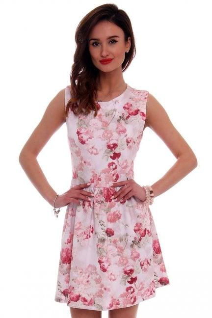 Sukienka modna w kwiaty CM280 różowa