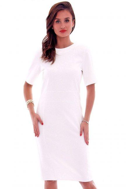 Sukienka ołówkowa damska CMK618 ecru