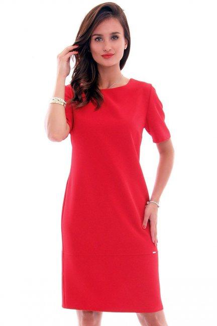 Sukienka ołówkowa midi CMK619 czerwona