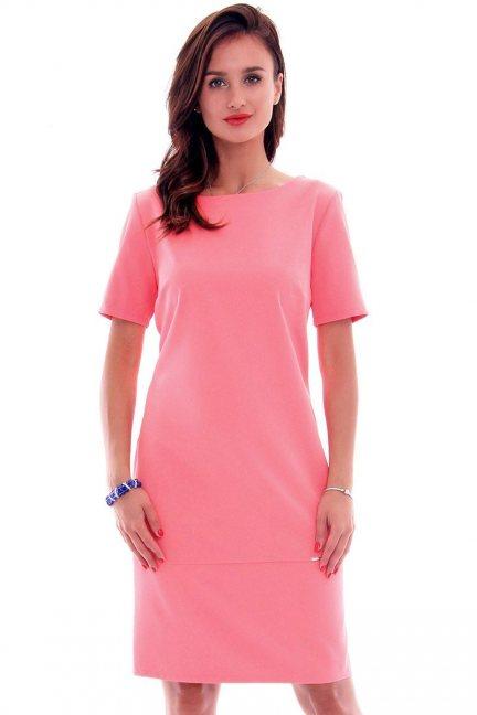 Sukienka ołówkowa midi CMK619 koralowa
